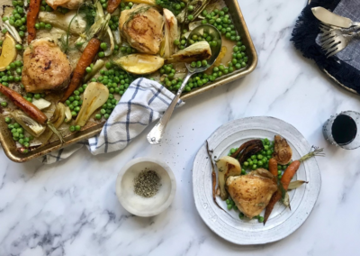 Chicken Tray Bake with Veggies and Peas